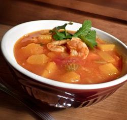 Soupe courge et crevettes sans gluten