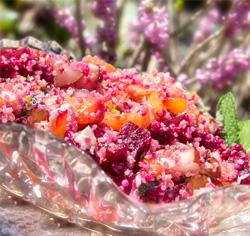 Recette sans gluten de Salade ensoleillée au quinoa et à la betterave