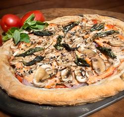 Pizza sans gluten à la truite