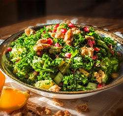 Salade de kale et pomme grenade sans gluten