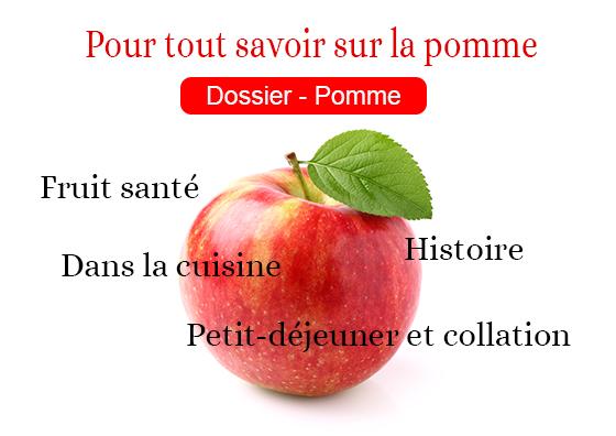 Pour tout savoir sur le pomme. Dossier Pomme.Histoire, fruit santé, dans la cuisine, etc.