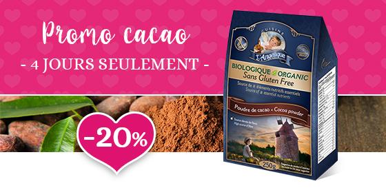 Promo cacao, 20 % de rabais 4 jours seulement
